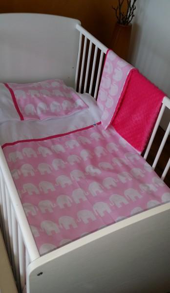 Bettwäscheset Babybett 2 Teilig Elefäntli Rosa Abc Kids Club